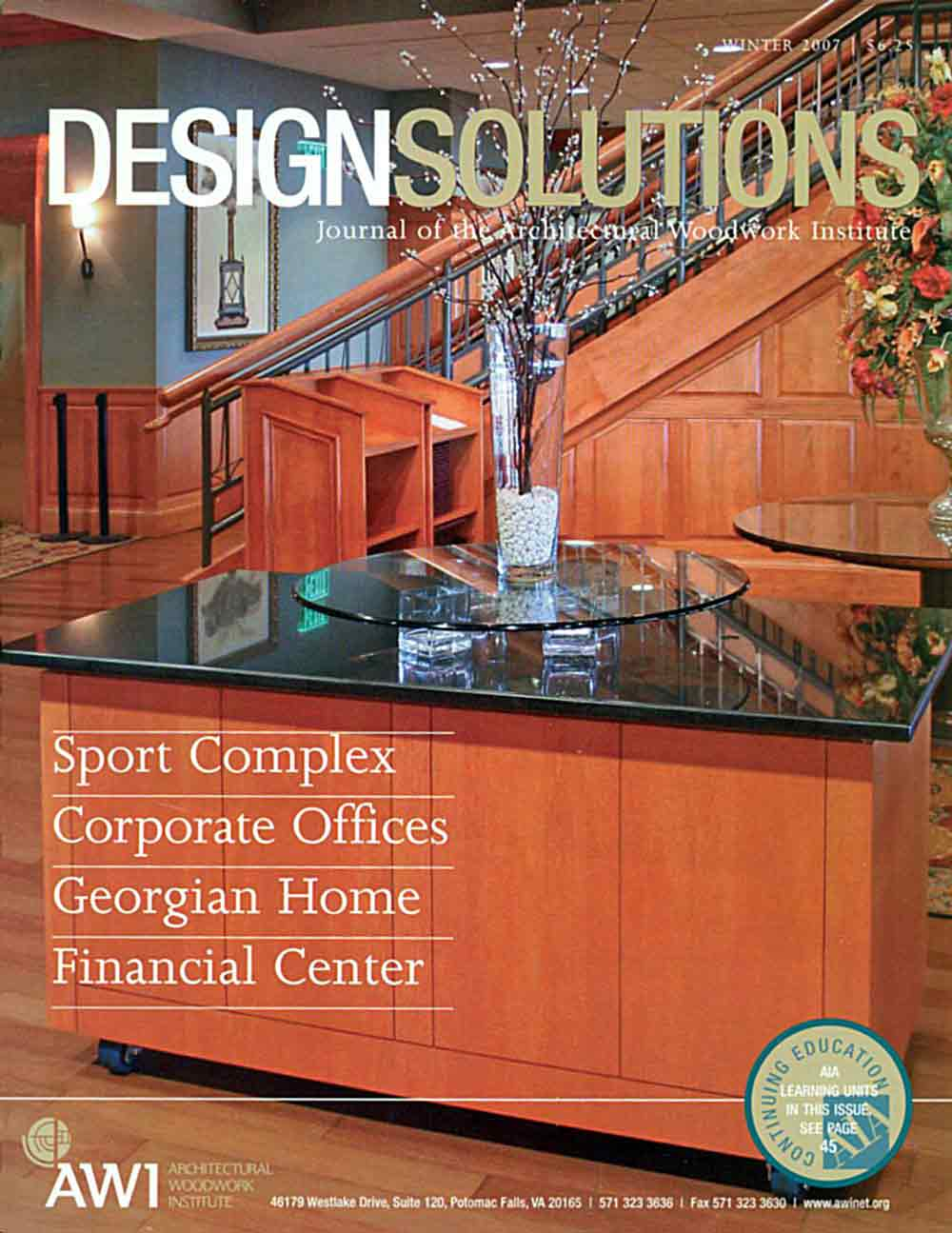 Cover of The Journal of Architecture Woodworking Institute featuring New England Classic wainscot and panels