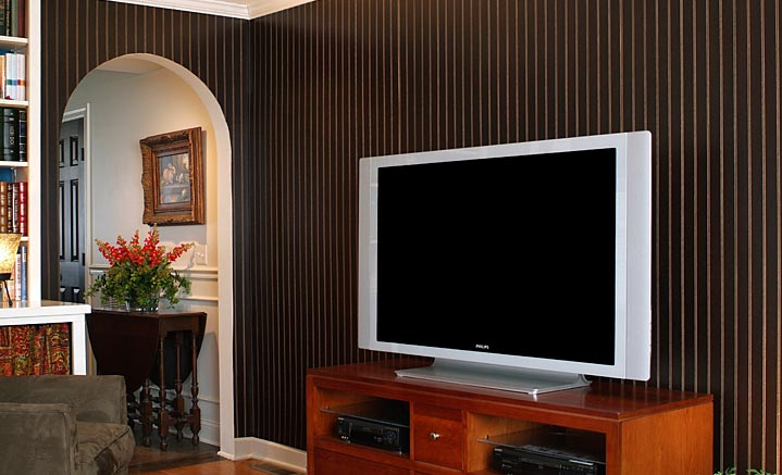 dark beadboard paneling adds a comtemporary and edgy feel